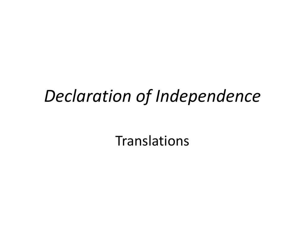 Answers Declaration Of Independence Translation
