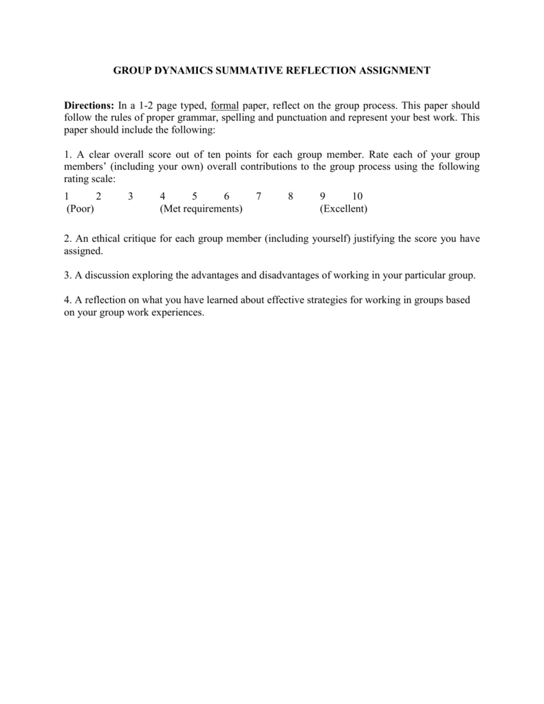 Reflective essay on group dynamics difference between business plan project report