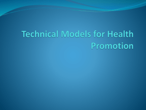 Technical Models for Health Promotion