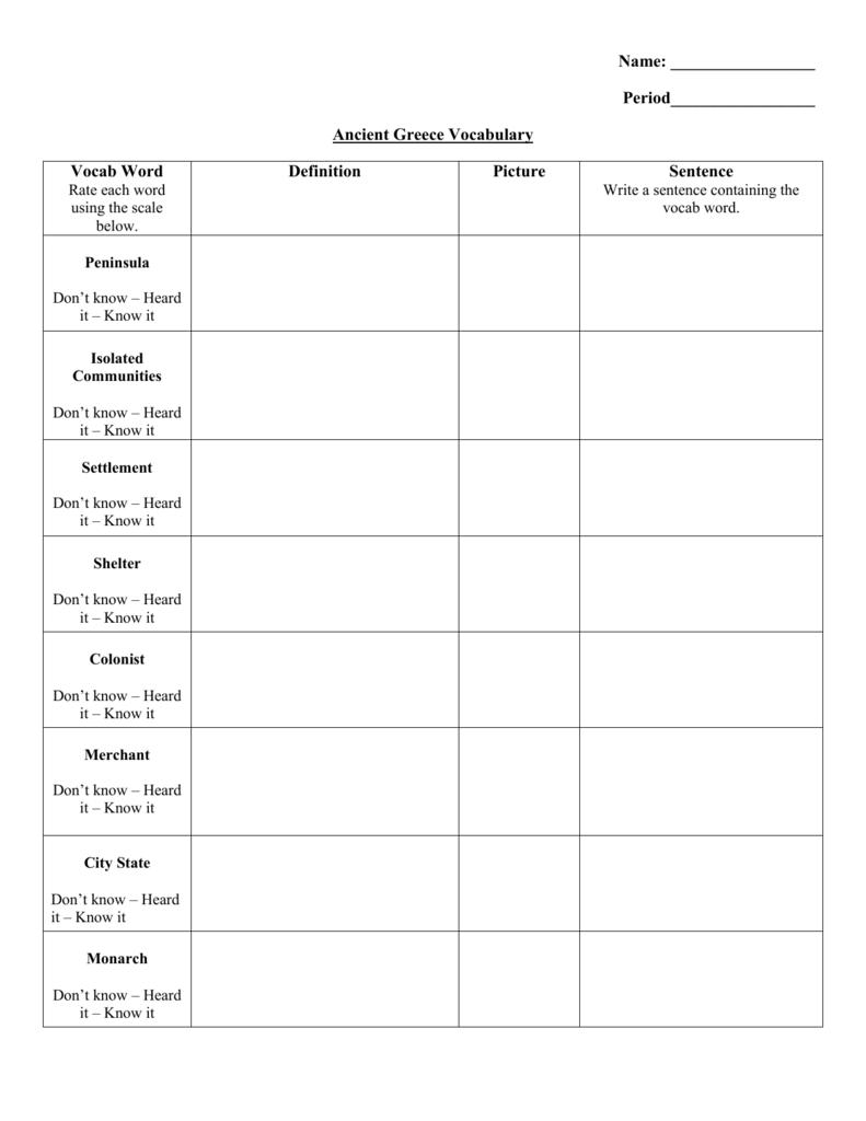 Worksheet Ancient Greece Worksheets ancient greece vocabulary worksheet