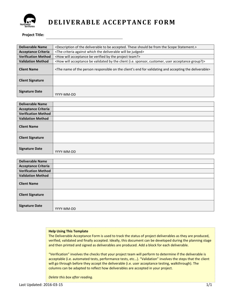 Deliverable Acceptance Form