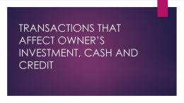 transactions that affect owner's investment, cash and