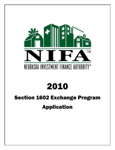 Section 1602 application - Nebraska Investment Finance Authority