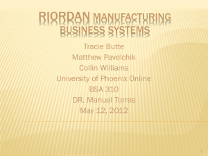 Riordan Manufacturing Business System