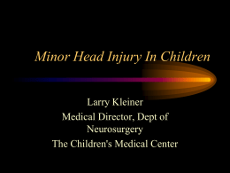 Minor Head Injury In Children