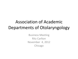 AADO Business Meeting 2012 - Society of University Otolaryngologists