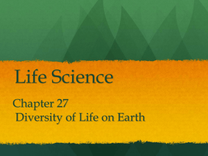 LS ch 27 diversity of life on earth