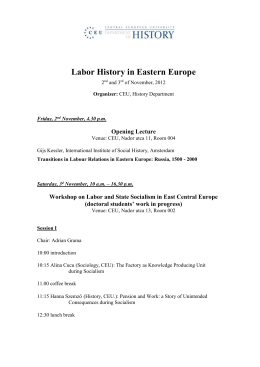 Labor and State Socialism in East Central Europe