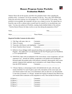 Honors Program Senior Portfolio Evaluation Rubric