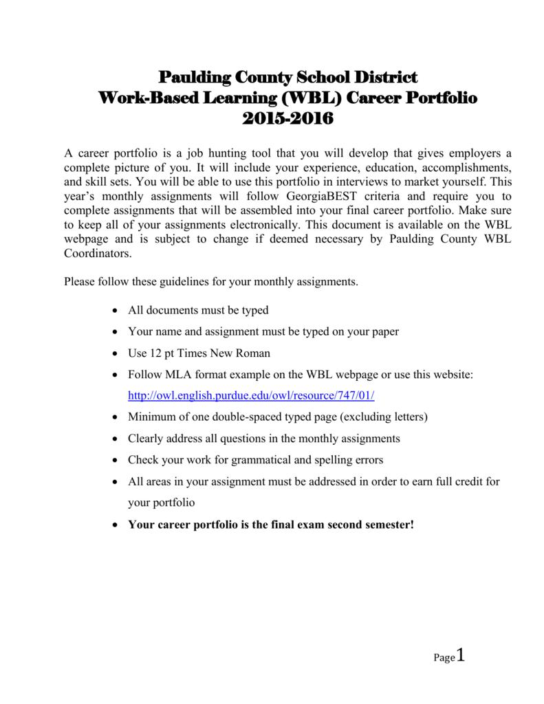 (WBL) Career Portfolio - North Paulding High School Work Based