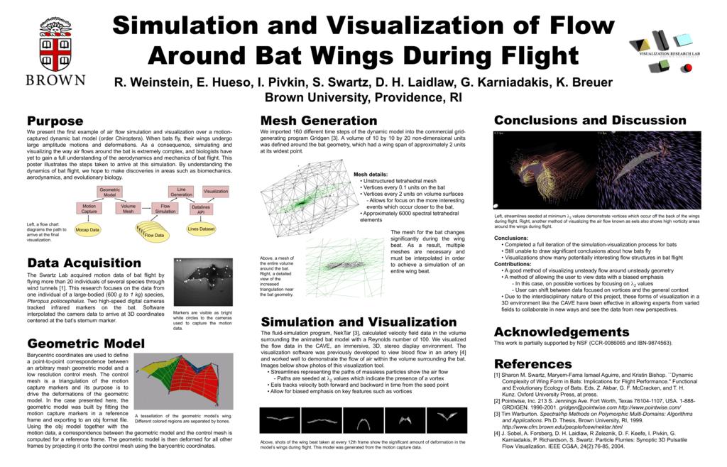 Simulation And Visualization Of Flow Around Bat Wings During Flight R Weinstein E Hueso I Pivkin S Swartz D H Laidlaw G Karniadakis