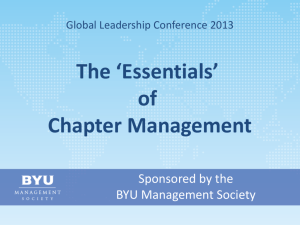 of Chapter Management - BYU Management Society