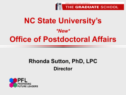 NCSU's *New* Office of Postdoctoral Affairs