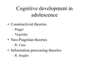 Cognitive Development of the Adolescent