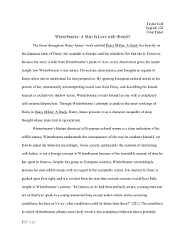 an analysis of winterbourne who first meets daisy The american in europe: henry james' daisy miller  daisy and winterbourne first meet in vevey, switzerland  the american in europe: henry james' daisy miller related study materials.