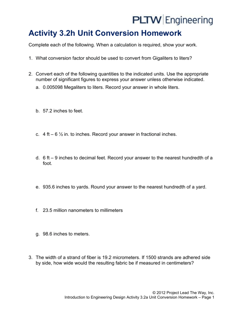 activity 3.2 unit conversion homework answer key pltw