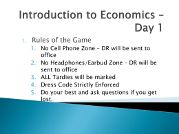 Introduction to Economics * Day 1