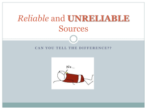 Reliable and Unreliable Sources PPT