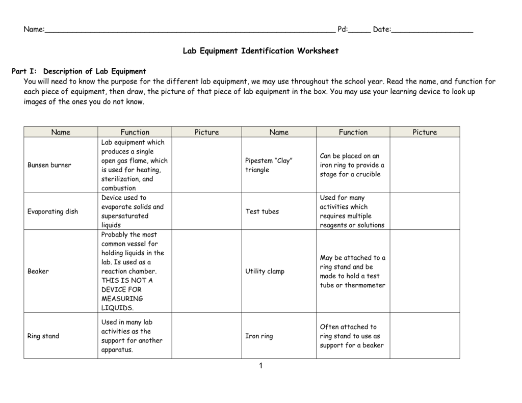 File – Science Lab Equipment Worksheet