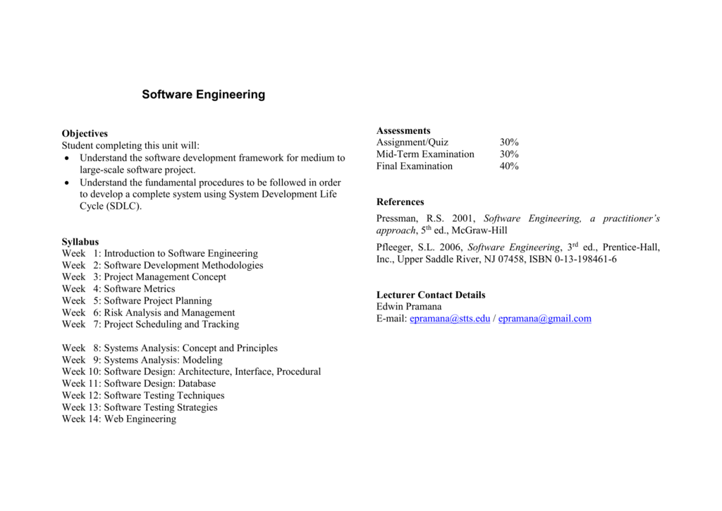 Software Engineering Syllabus