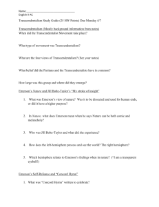 Name: English II AC Transcendentalism Study Guide (25 HW Points