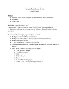Transcendentalism Unit Test Study Guide