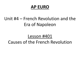 Lesson 401 - Causes of French Revolution
