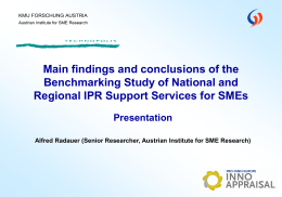 Benchmarking Regional and National Support Services for