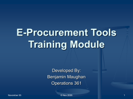 E-Procurment Tools Training Module
