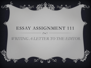 Essay Assignment 3 presentation