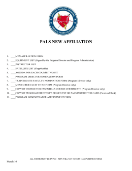 PALS New Affiliation Package