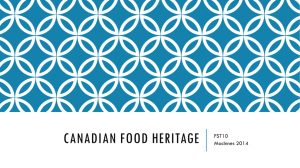 PPT: Canada's Food Heritage