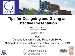Tips for Abstracts and Presentations