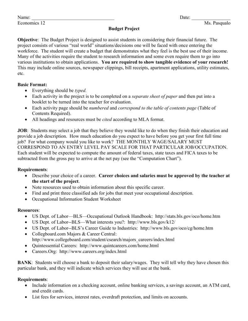 worksheet Occupational Outlook Handbook Worksheet senior economicsbudget project