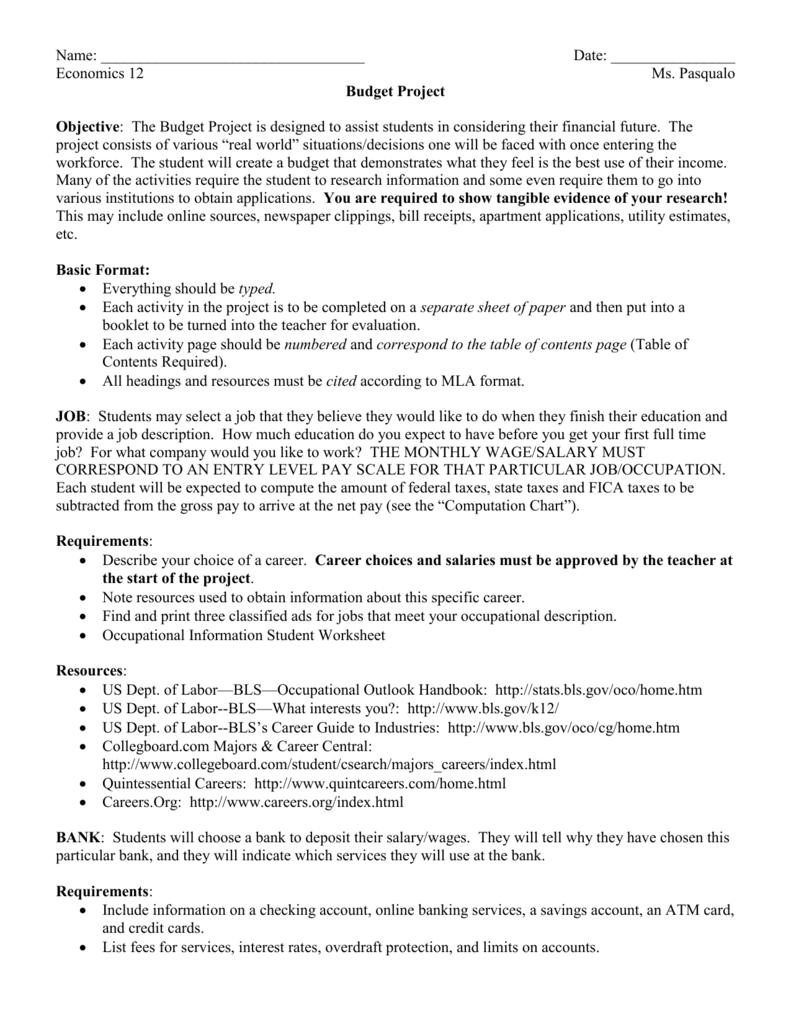 Senior Economics Budget Project