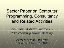 Sector Paper on Computer Programming, Consultancy and Related