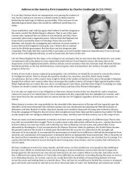 Address to the America First Committee by Charles Lindbergh