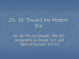 Ch. 18: Toward the Modern Era