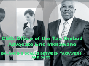 Balancing Scales between Taxpayers and SARS.