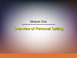 Overview of Personal Selling