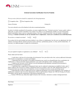 Criminal Conviction Certification Form