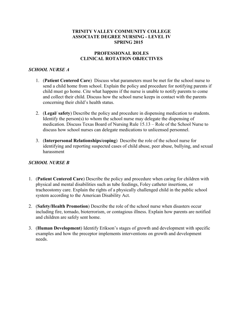 Rsng 2360 Professional Nursing Roles Rotation Clinical Objectives