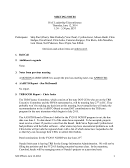 RAC Officers Meeting Notes: June 12, 2014
