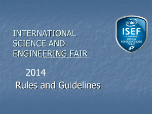 Overview of ISEF Rules Dee Thompson