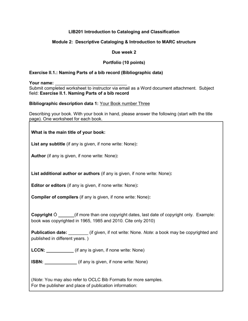 worksheet for book three