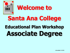 Educational Plan Workshop Associate Degree