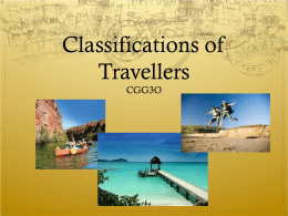 Classifications of Tourism