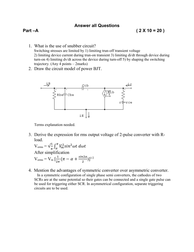 Answer All Questions Part A 2 X 10 20 Snubbercircuitscr