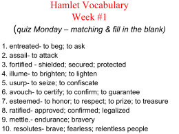 Hamlet Vocabulary Week