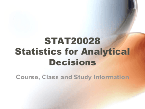 STAT20028: Statistics for Analytical Decisions